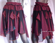 skirt, plum and black leopard muslin, summer party skirt