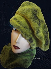 winter beret hat,flash green and mole faux-fur