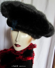 winter hat, black elegant beret faux-fur