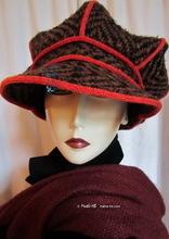 winter cap, brown black chocolate wool and red knitting, unisex XL-XXL