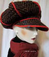 winter cap, brown black chocolate wool and red knitting, unisex M-L