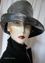 rain hat, silver sequins black, XL, rain in city