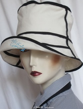 summer hat, white sand and black linen cotton, S