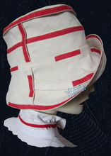 summer hat, sand white and red linen