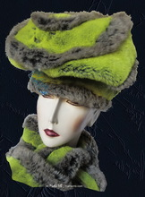 Hat, flash green yellow and grey faux-fur, winter