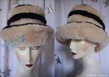 Hat, elegant, 56-57, Fake Fur, black, cream-beige