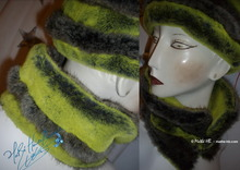 reversible collar - fake fur, green-flash-yellow