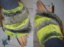 wristbands,  muffs, fake fur, green-flash-yellow