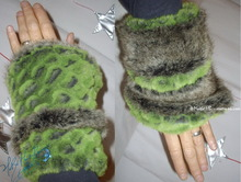 wristbands,  muffs, fake fur, green-alligator,