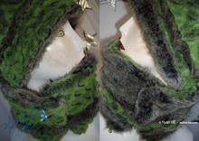 reversible collar - fake fur, green alligator