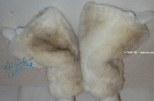 wristbands,  muffs, fake fur, brown, white,