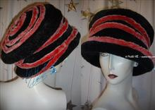 Hat, faux fur, red and black,