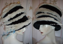 Hat, retro futuristic style, faux fur/sand, black