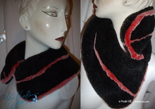 removable reversible collar, faux fur, black, red,