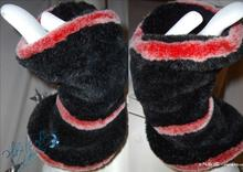 2, cuffs, muffs, imitation fur/black/red, original