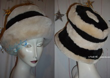 retro style winter hat, M, black and cream faux fur