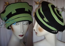 beret hat, 58-59/L, apple green and black, knitted cloth