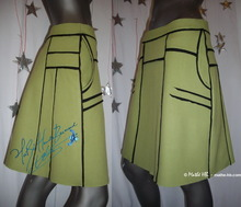 green spring skirt, trapezium cut,