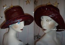 rain hat, eccentric, wine-red Imitation tortoise
