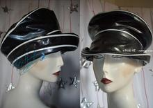 rain hat, vinyl black sequined, pearl white, 55-56