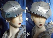 rain cap, métalised, silver-grey, blue, 56-57 /M