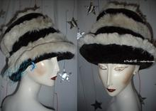 eccentric hat, black and white wolf faux fur