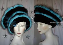 Hat,  black, turquoise, false-fur, original,