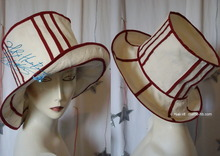 sunhat, sand-white & carmin red cotton & linen, eccentric retro styl