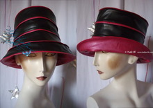 rain hat, S, fushia pearly and black, oil cloth