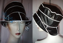rain hat, S, black and white leatherette