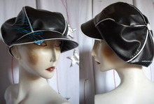 *rain cap, black & white Leatherette, cotton lining, M*