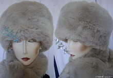 elegant hat, M, white wolf imitation, faux fur