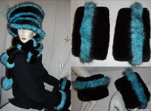 2 removable cuffs,  turquoise black iridescent and black faux-fur