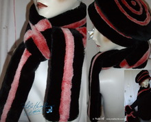 eccentric scarve, red iridescent white and black, winter