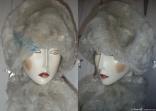 elegant hat, L, white wolf faux fur