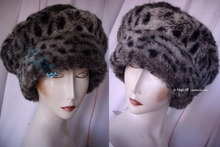 beret, L, lynx faux fur, eccentric hat winter